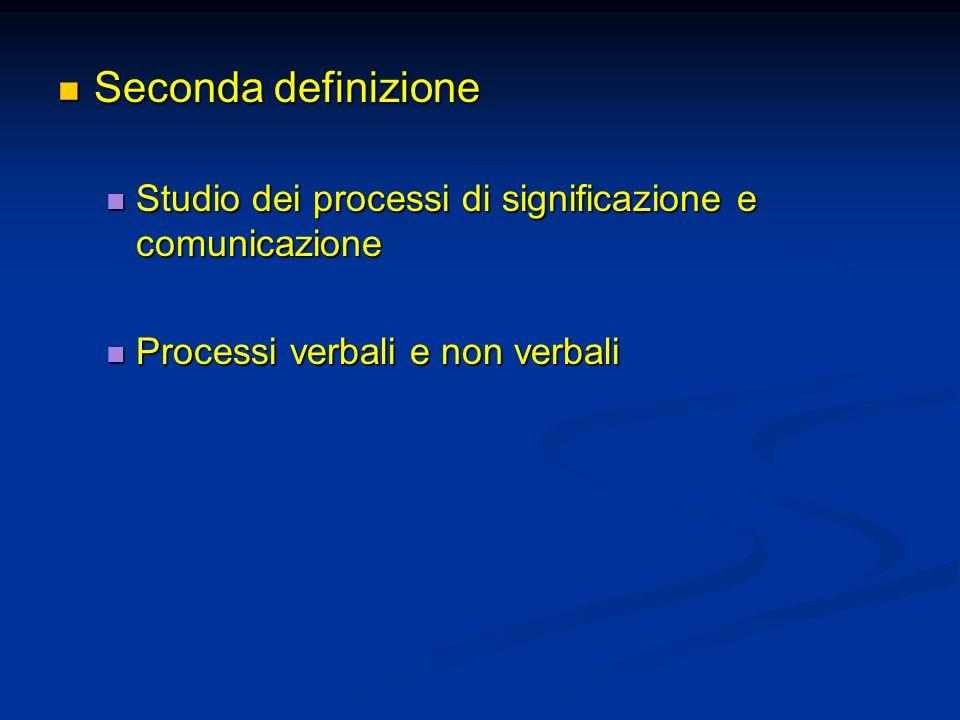 Seconda definizione Studio dei processi di significazione e comunicazione.