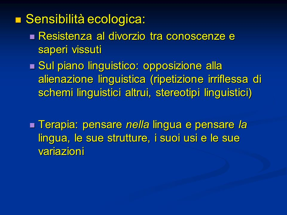 Sensibilità ecologica: