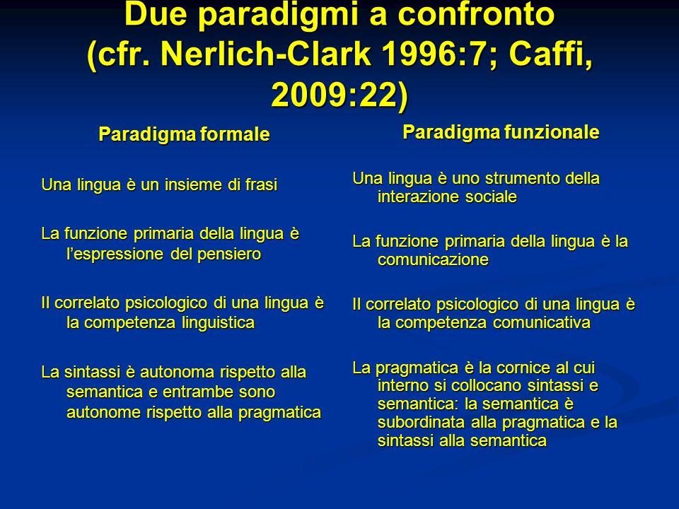 Due paradigmi a confronto (cfr. Nerlich-Clark 1996:7; Caffi, 2009:22)