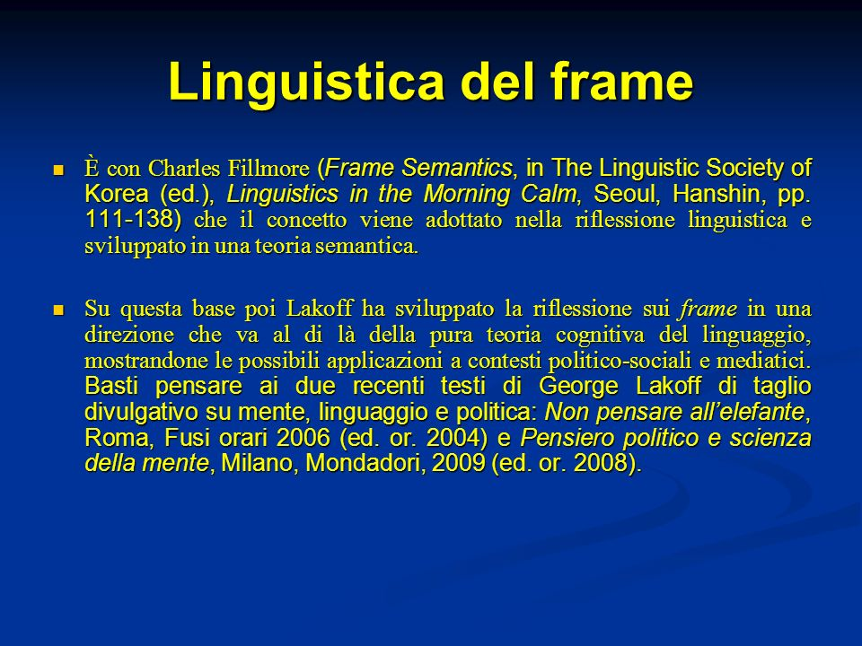 Linguistica del frame