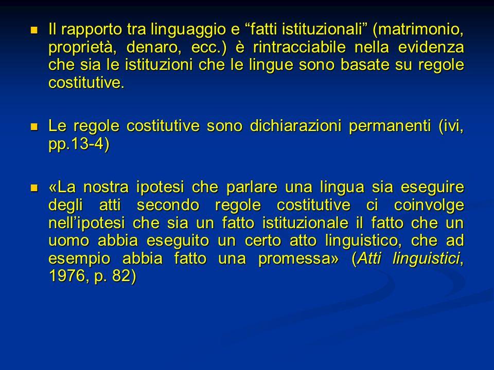 Il rapporto tra linguaggio e fatti istituzionali (matrimonio, proprietà, denaro, ecc.) è rintracciabile nella evidenza che sia le istituzioni che le lingue sono basate su regole costitutive.