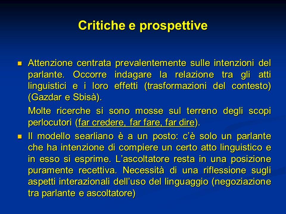 Critiche e prospettive