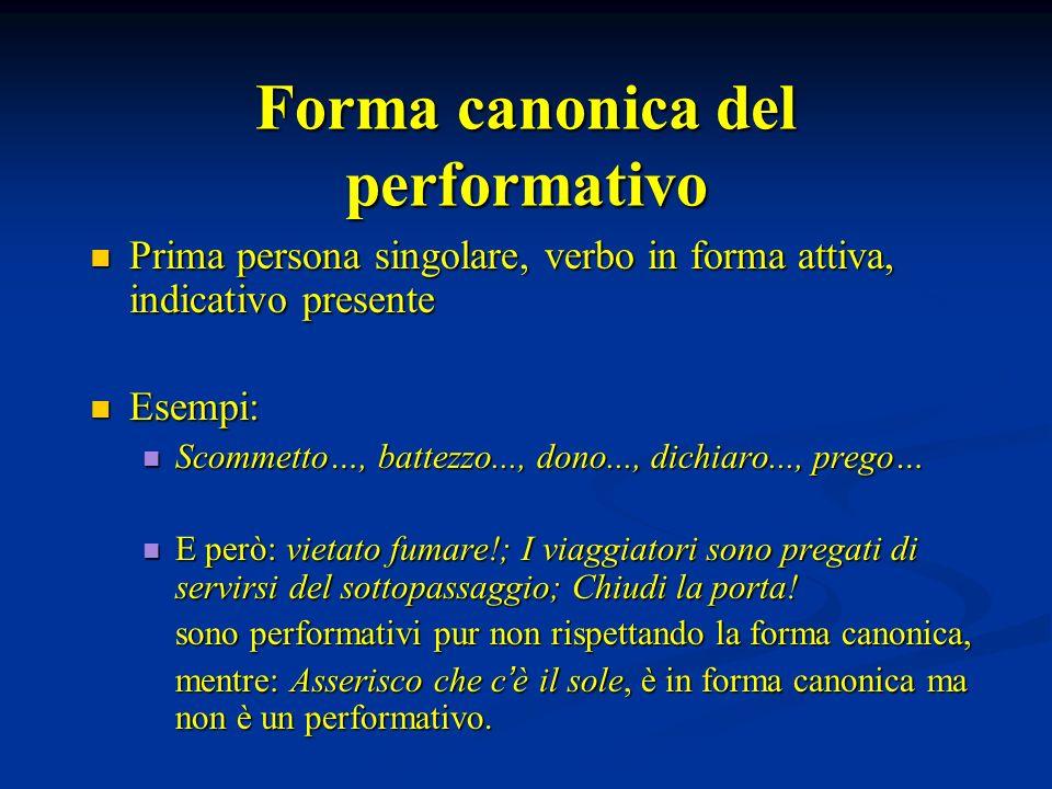 Forma canonica del performativo