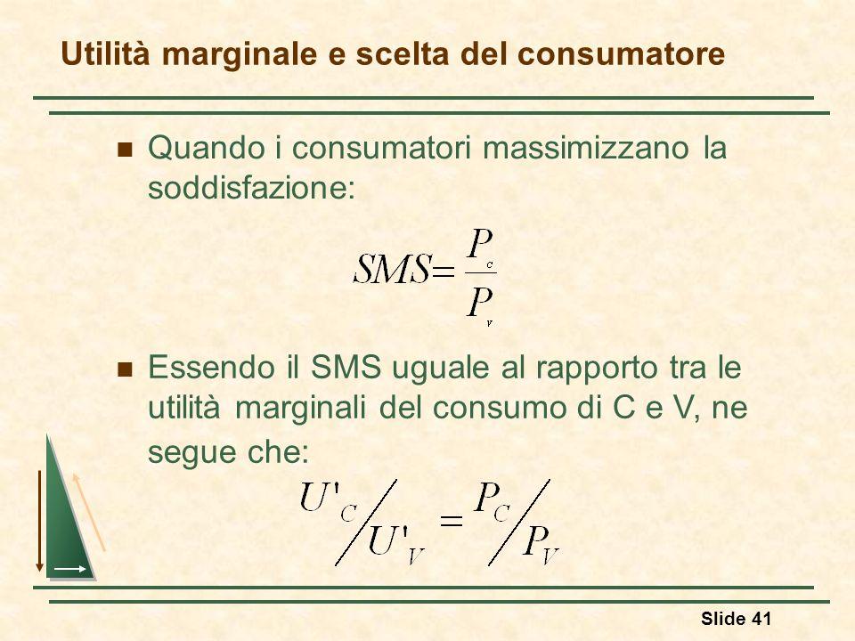 Utilità marginale e scelta del consumatore