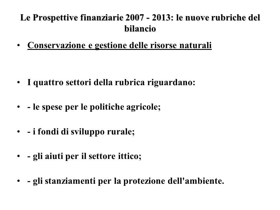 Le Prospettive finanziarie 2007 - 2013: le nuove rubriche del bilancio