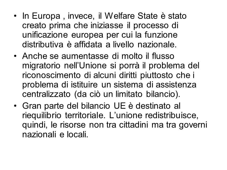 In Europa , invece, il Welfare State è stato creato prima che iniziasse il processo di unificazione europea per cui la funzione distributiva è affidata a livello nazionale.
