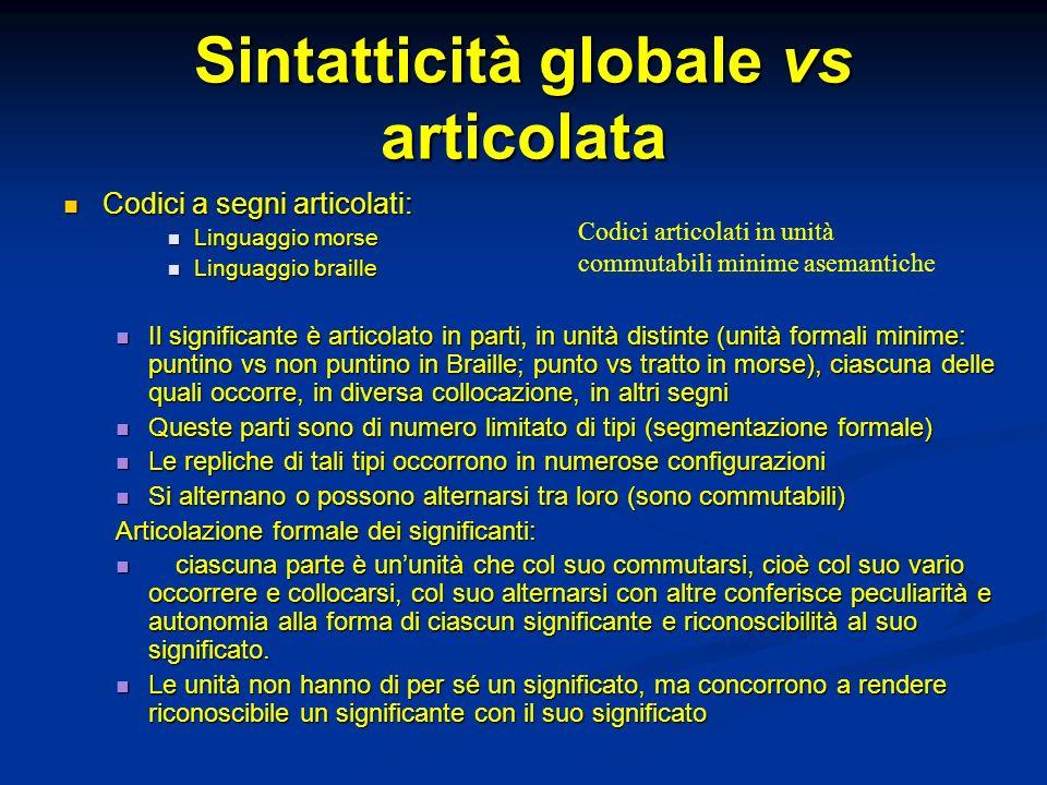 Sintatticità globale vs articolata