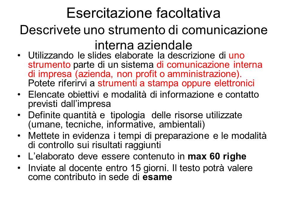 Esercitazione facoltativa Descrivete uno strumento di comunicazione interna aziendale