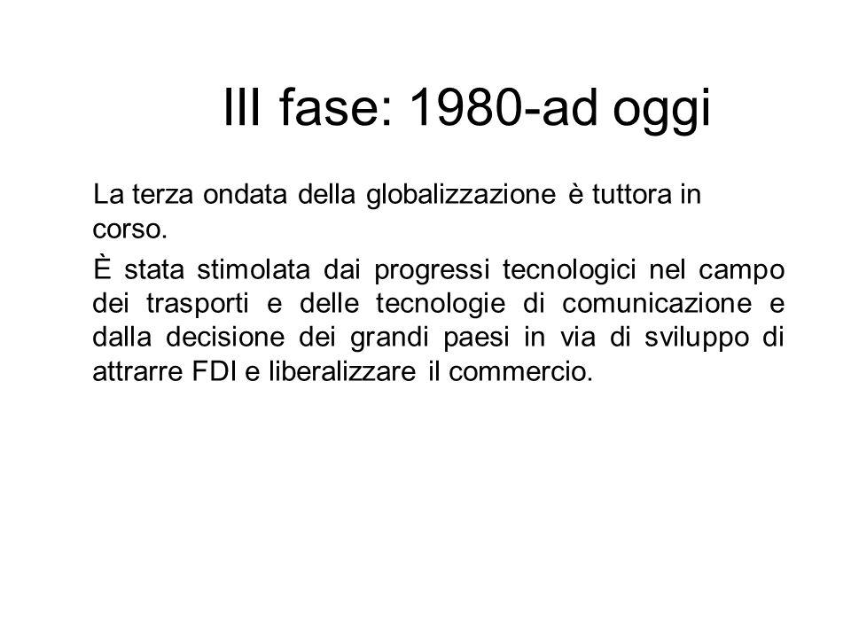 III fase: 1980-ad oggiLa terza ondata della globalizzazione è tuttora in corso.