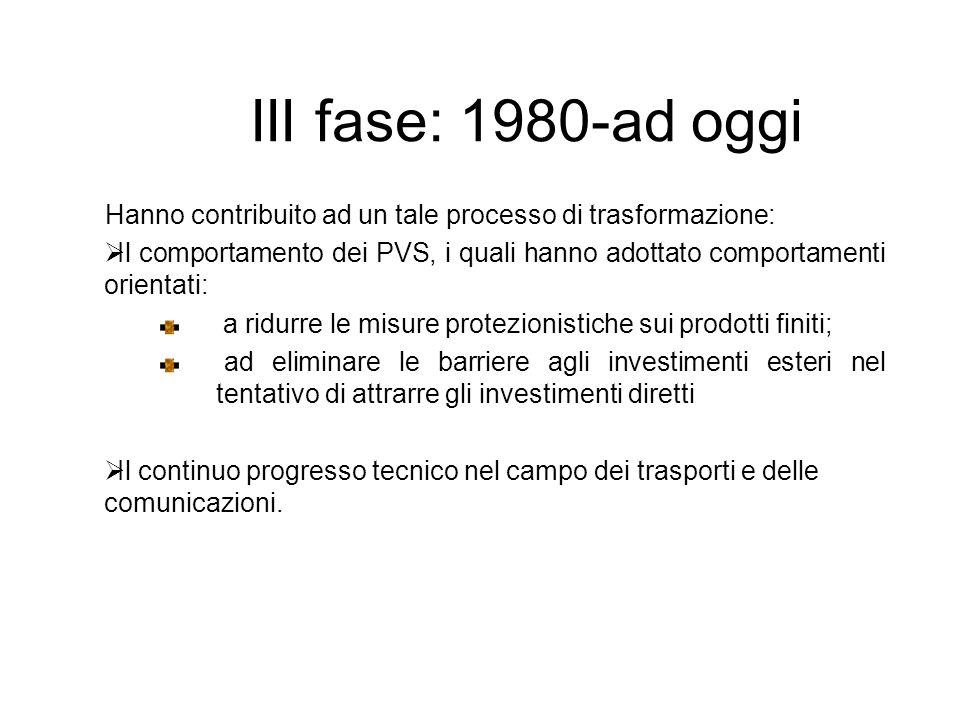III fase: 1980-ad oggi Hanno contribuito ad un tale processo di trasformazione: