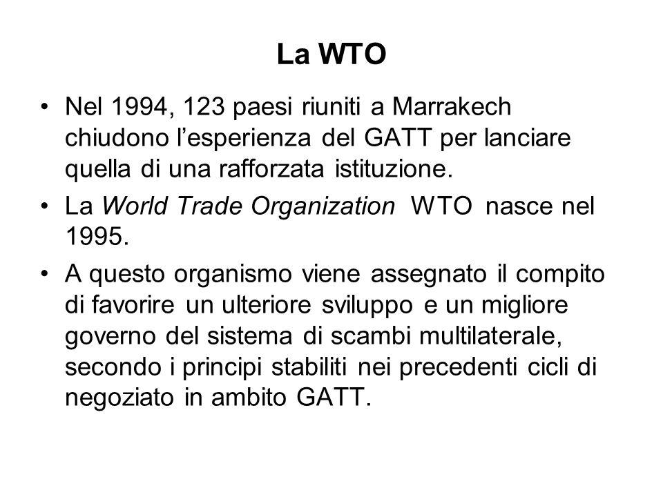La WTO Nel 1994, 123 paesi riuniti a Marrakech chiudono l'esperienza del GATT per lanciare quella di una rafforzata istituzione.