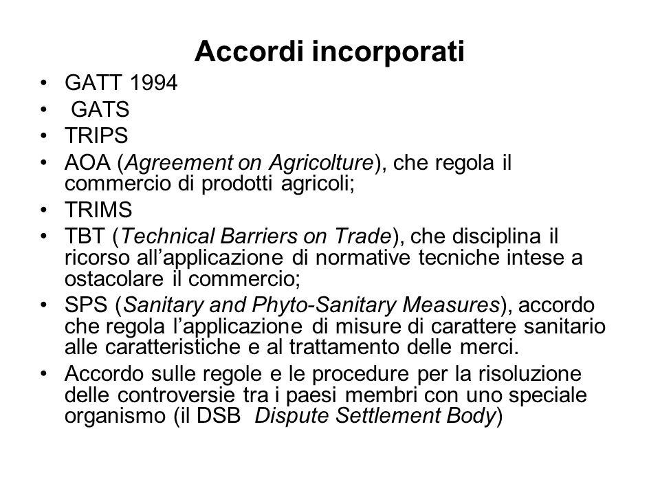 Accordi incorporati GATT 1994 GATS TRIPS