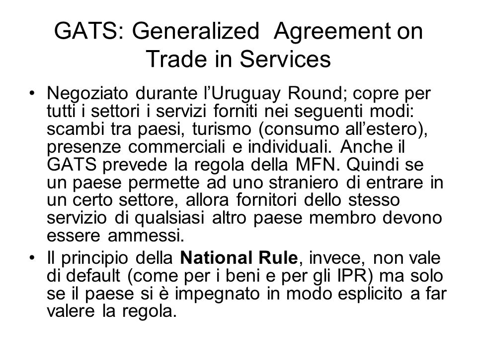 GATS: Generalized Agreement on Trade in Services