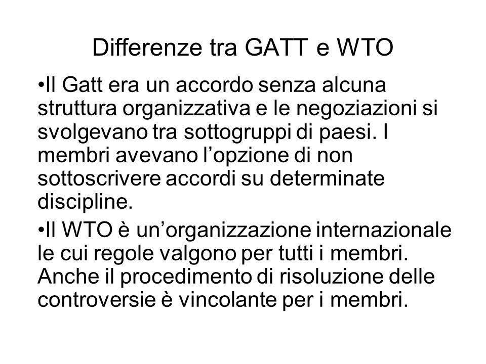 Differenze tra GATT e WTO