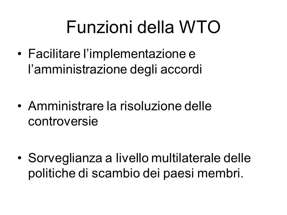 Funzioni della WTO Facilitare l'implementazione e l'amministrazione degli accordi. Amministrare la risoluzione delle controversie.