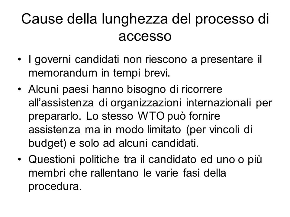 Cause della lunghezza del processo di accesso