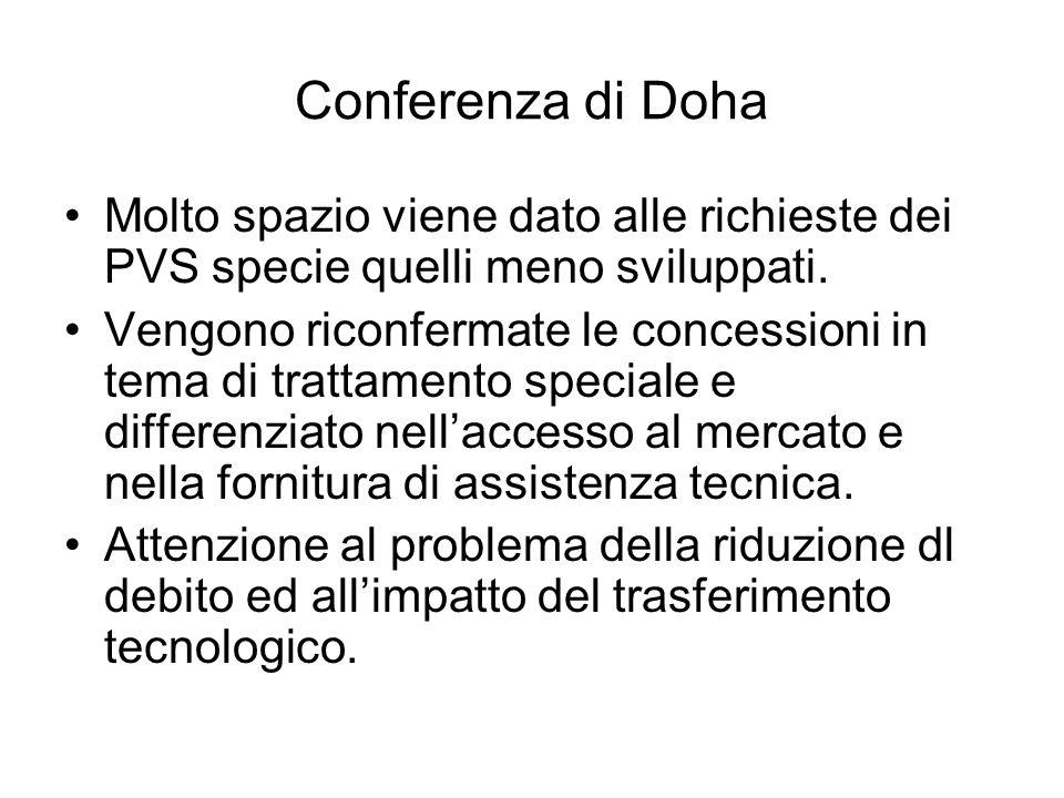 Conferenza di Doha Molto spazio viene dato alle richieste dei PVS specie quelli meno sviluppati.