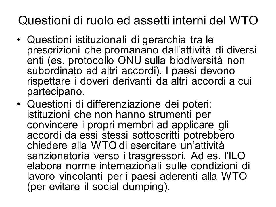 Questioni di ruolo ed assetti interni del WTO
