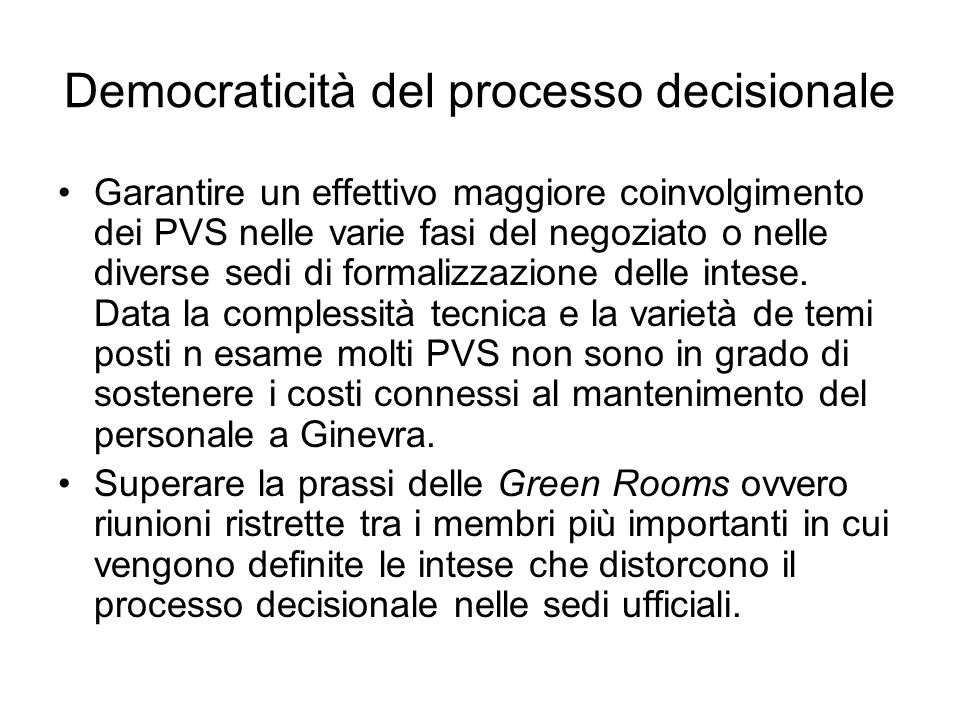 Democraticità del processo decisionale