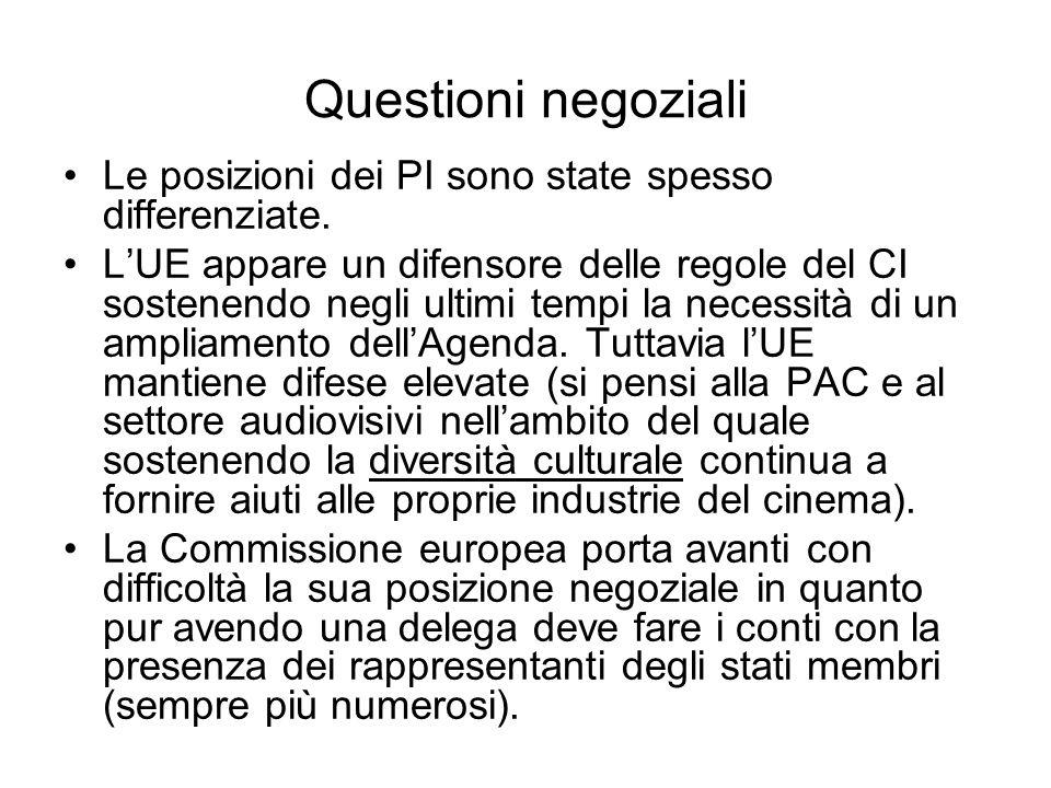 Questioni negoziali Le posizioni dei PI sono state spesso differenziate.