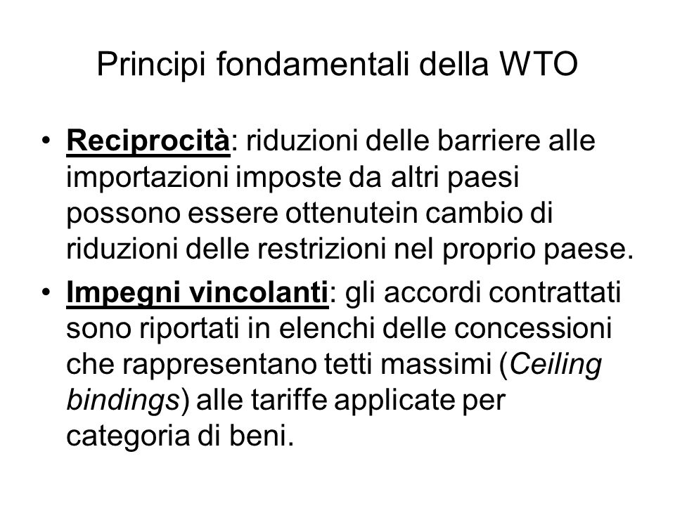 Principi fondamentali della WTO