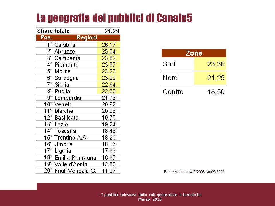 La geografia dei pubblici di Canale5