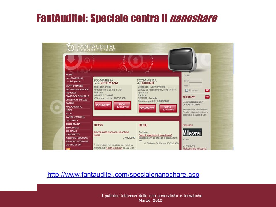 FantAuditel: Speciale centra il nanoshare