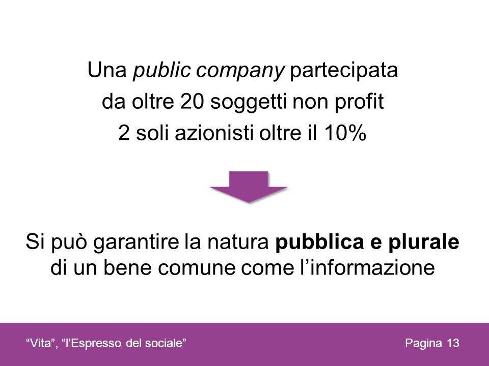Una public company partecipata da oltre 20 soggetti non profit 2 soli azionisti oltre il 10% Si può garantire la natura pubblica e plurale di un bene comune come l'informazione