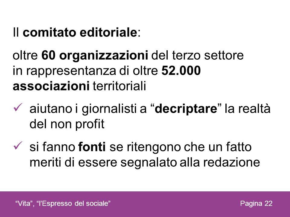 Il comitato editoriale: oltre 60 organizzazioni del terzo settore