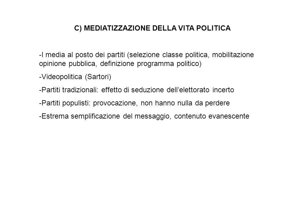C) MEDIATIZZAZIONE DELLA VITA POLITICA