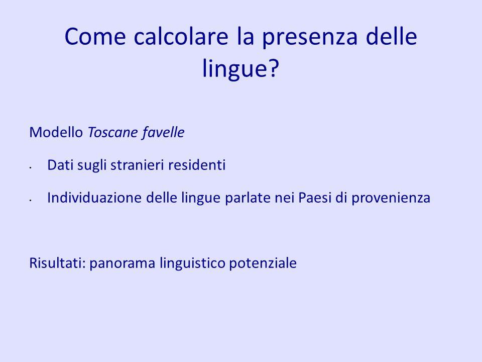 Come calcolare la presenza delle lingue