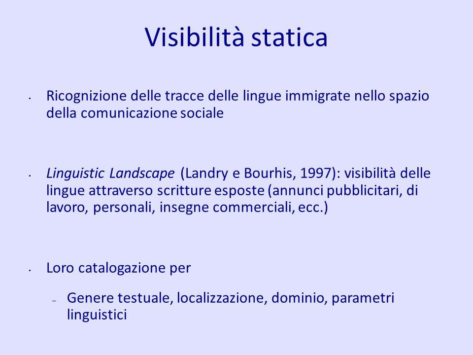 Visibilità statica Ricognizione delle tracce delle lingue immigrate nello spazio della comunicazione sociale.
