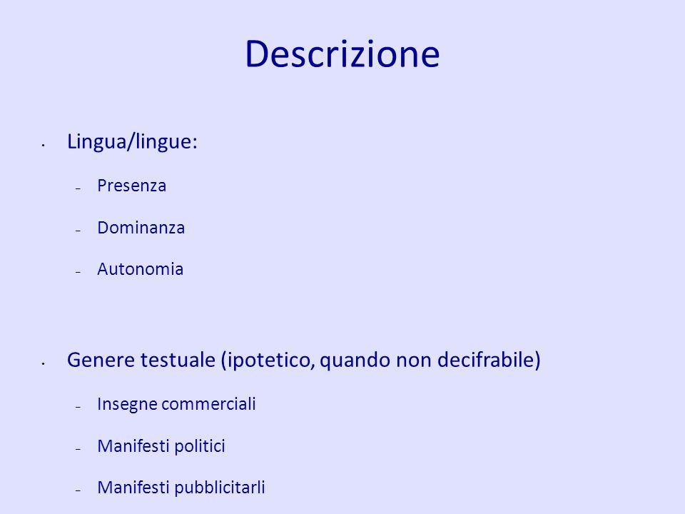 Descrizione Lingua/lingue: