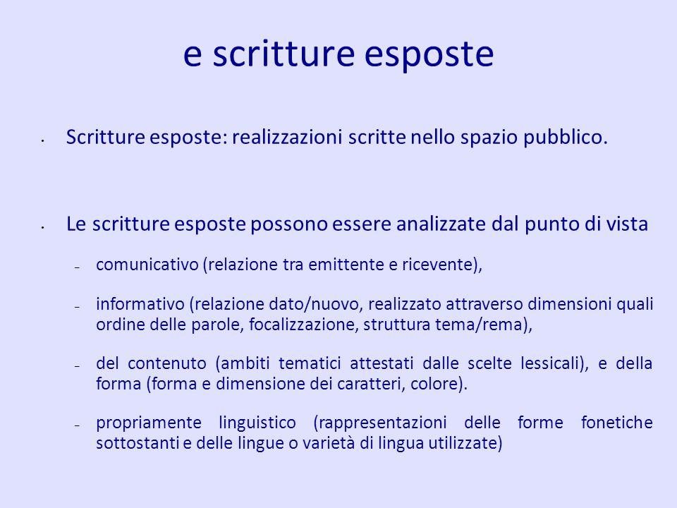 e scritture esposte Scritture esposte: realizzazioni scritte nello spazio pubblico.