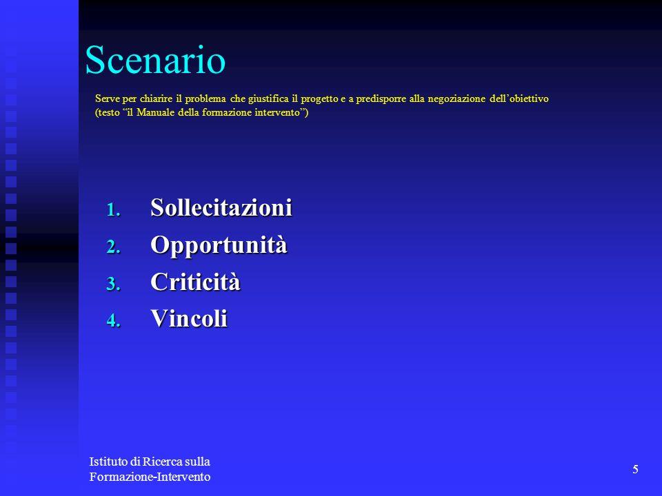 Scenario Sollecitazioni Opportunità Criticità Vincoli