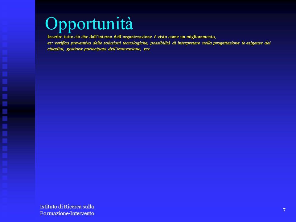 Opportunità Istituto di Ricerca sulla Formazione-Intervento