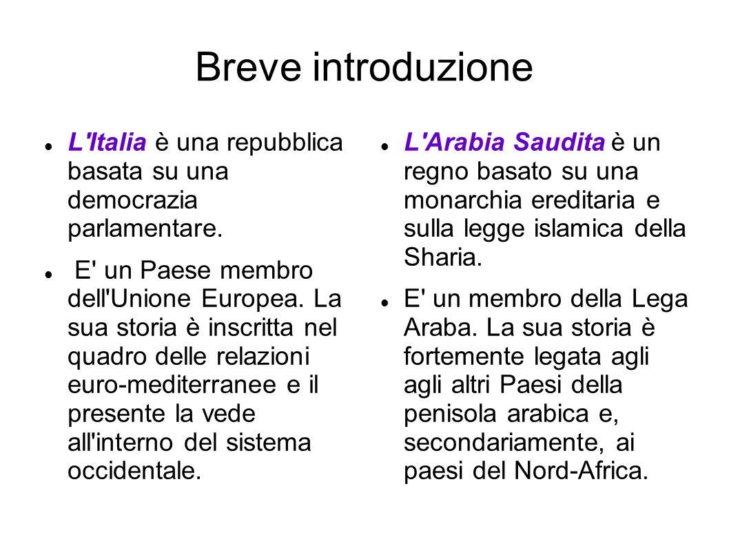 Breve introduzione L Italia è una repubblica basata su una democrazia parlamentare.
