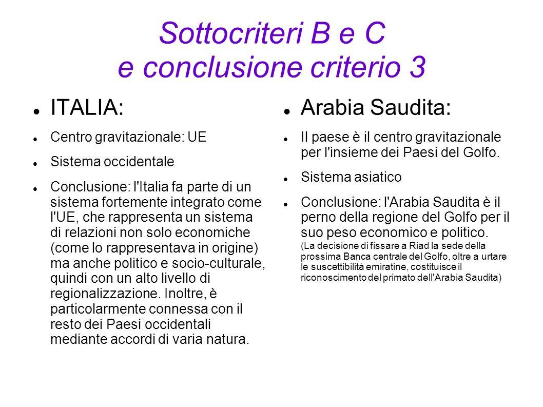 Sottocriteri B e C e conclusione criterio 3