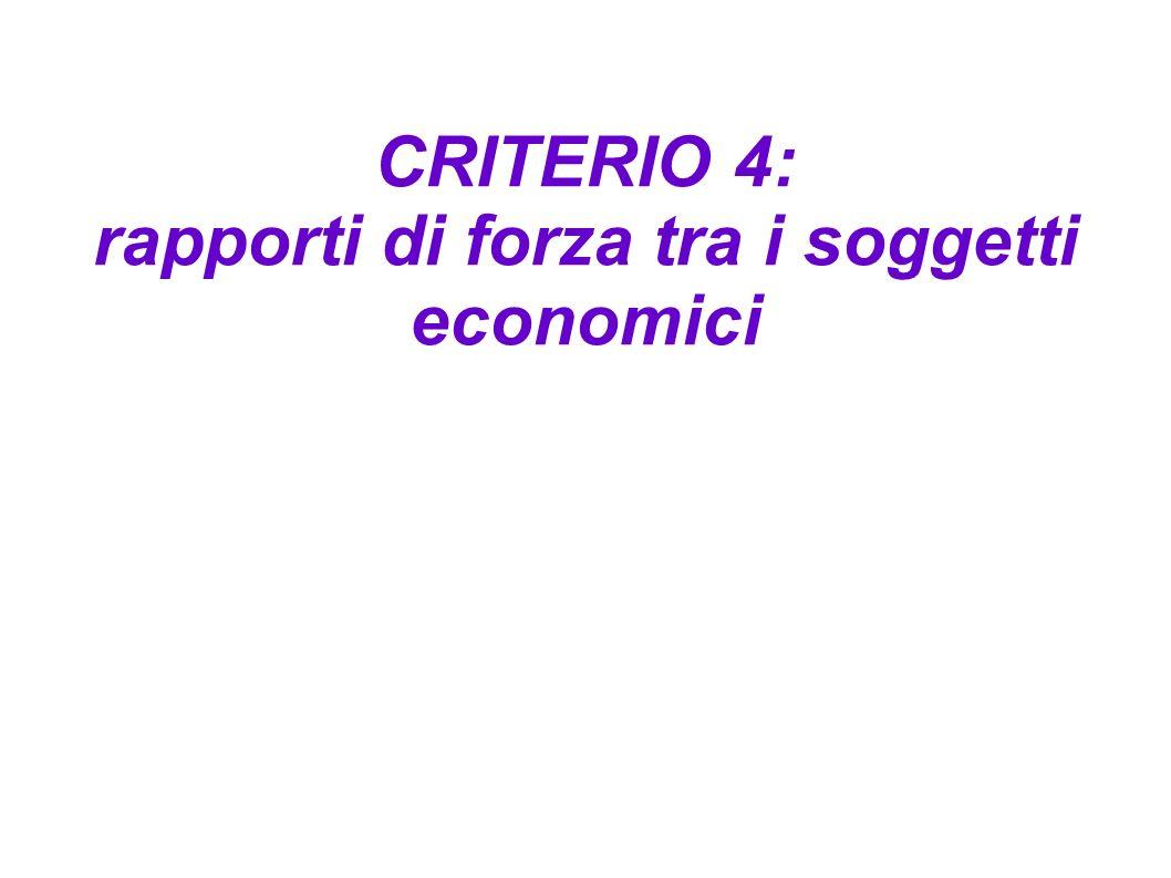 CRITERIO 4: rapporti di forza tra i soggetti economici