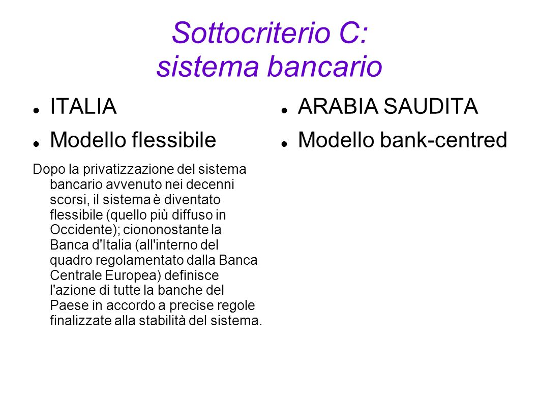 Sottocriterio C: sistema bancario