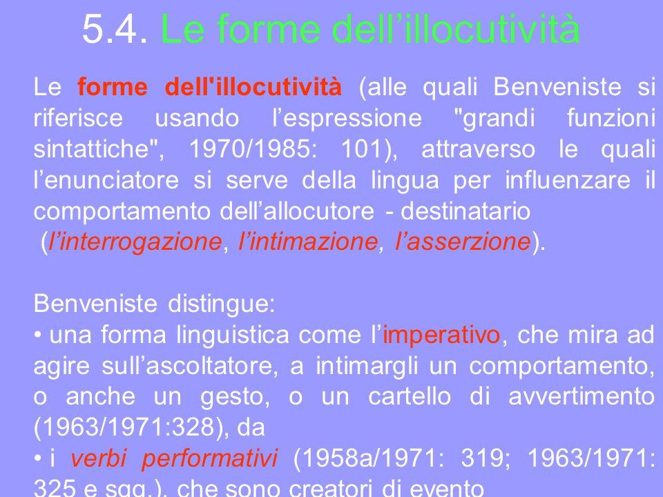 5.4. Le forme dell'illocutività