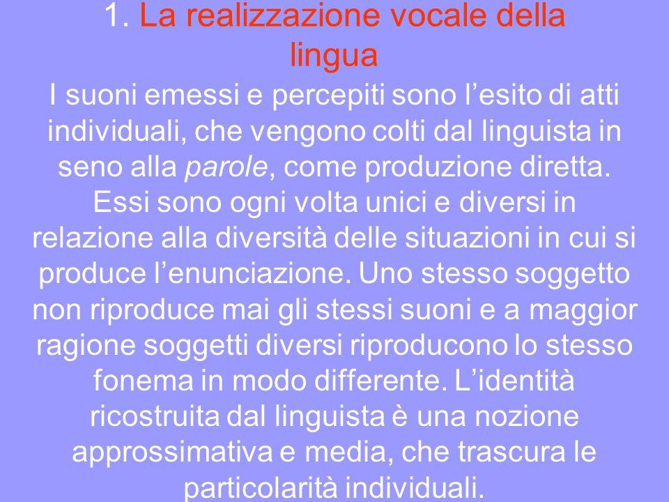 1. La realizzazione vocale della lingua