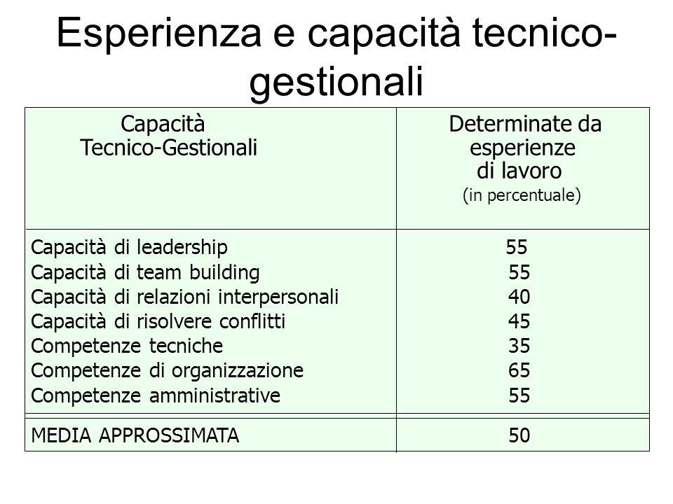 Esperienza e capacità tecnico-gestionali