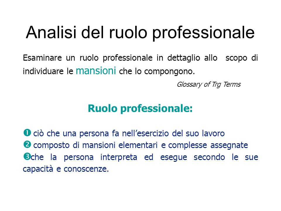 Analisi del ruolo professionale