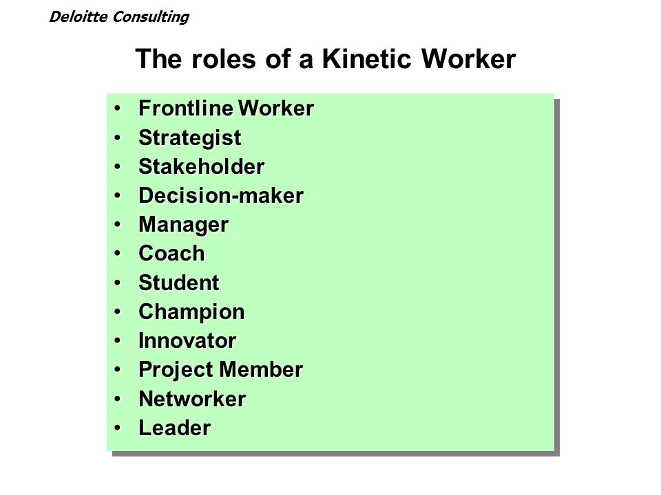 The roles of a Kinetic Worker