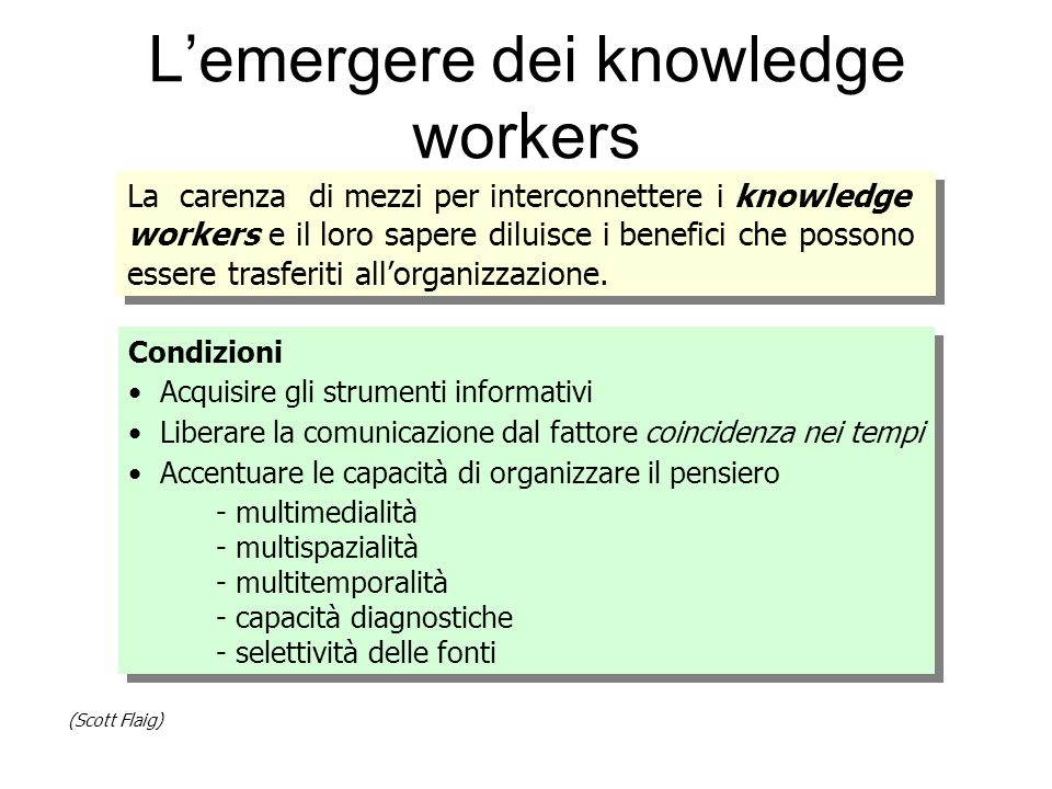 L'emergere dei knowledge workers