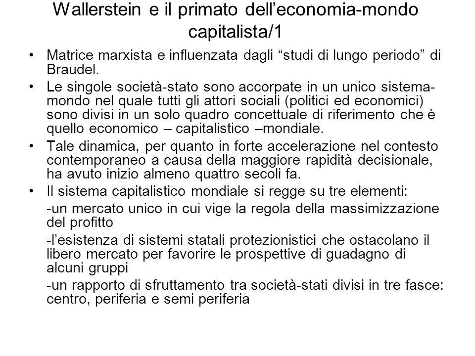 Wallerstein e il primato dell'economia-mondo capitalista/1