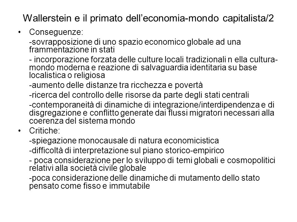 Wallerstein e il primato dell'economia-mondo capitalista/2
