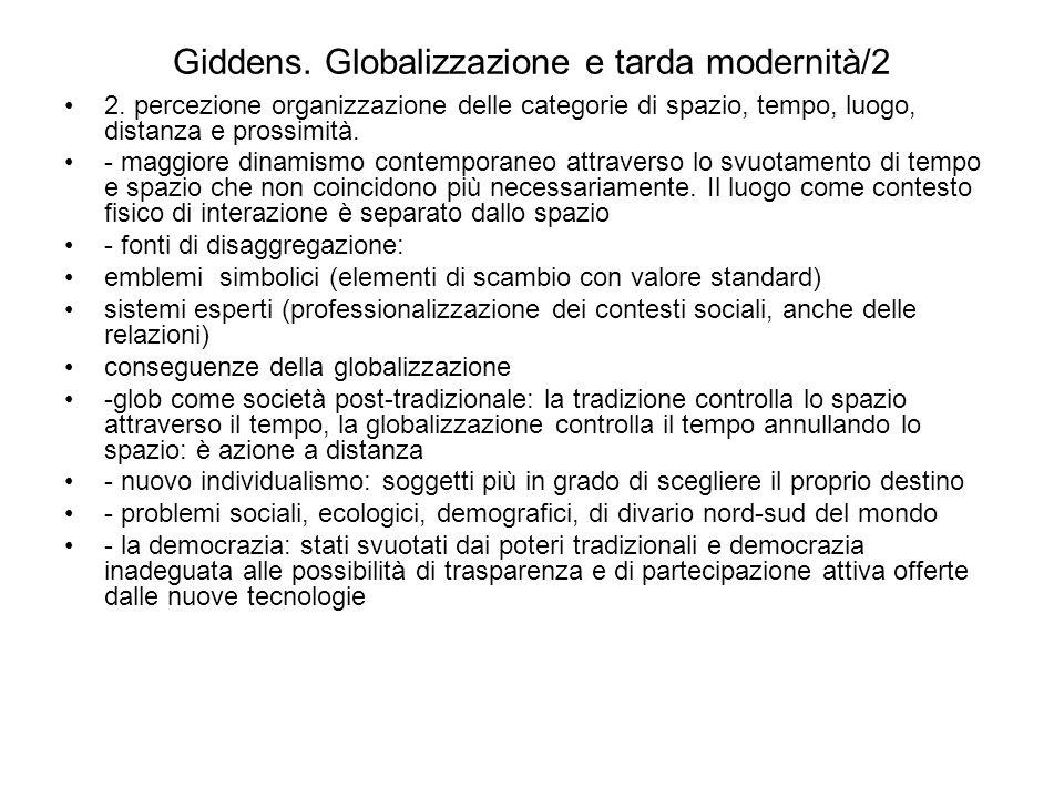 Giddens. Globalizzazione e tarda modernità/2