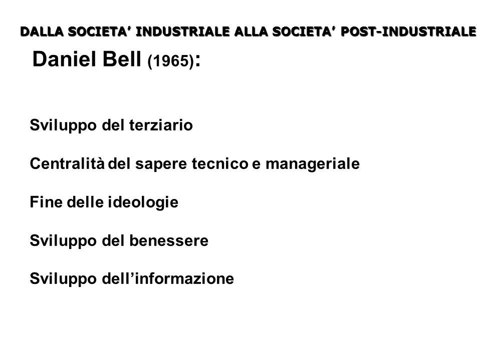 Daniel Bell (1965): Sviluppo del terziario